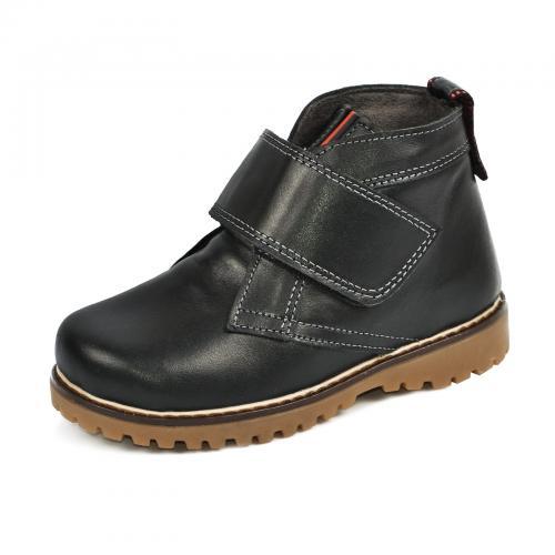 Ботинок НФ липучка черная кожа