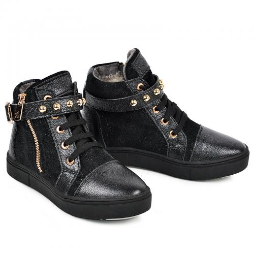 Ботинок Харли черный золото к/з