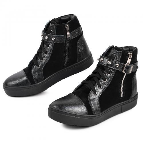 Ботинок Харли черный серебро к/з