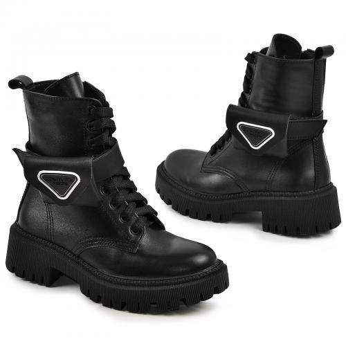 Ботинок Прада Черная кожа