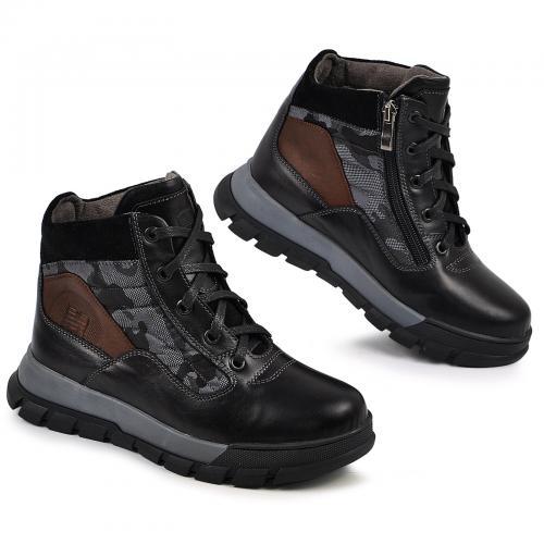 Ботинок Скипер черная кожа милитари