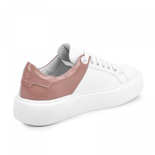 Арина белая кожа розовый лак д