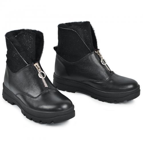 Ботинок 1904 черная кожа замш