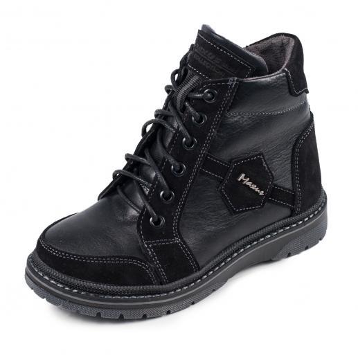 Ботинок Клок 2 черная кожа замш