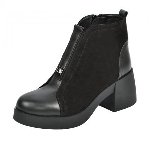 Ботинок 302 черная кожа замш