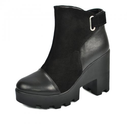 Ботинок 308 черная кожа замш