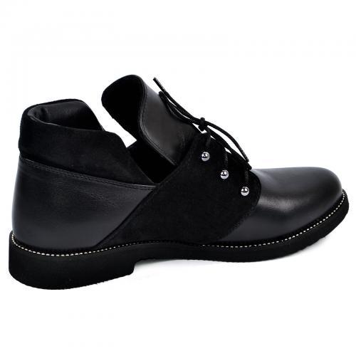 Ботинок  310 черная кожа замш