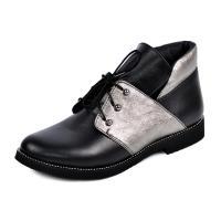 Ботинок 310 черный серебро кожа