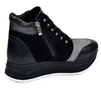 Ботинок 318 черная кожа замш