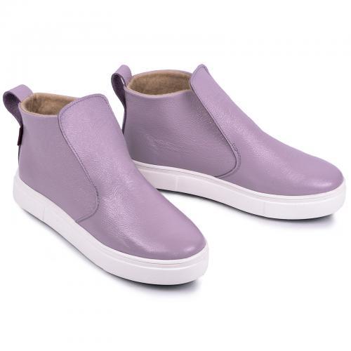 Угги 77 фиолетовый лак кожа