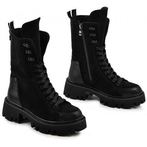 Ботинок Бона черный флотар замш