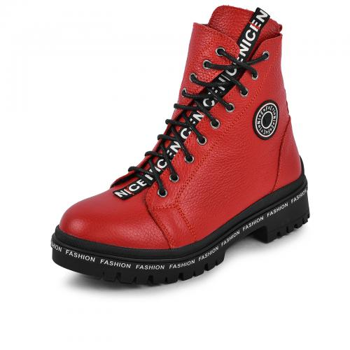 Ботинок Кенди красный флотар кожа