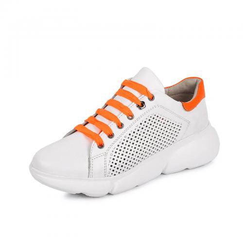 Кеды Мика 7 белая кожа перфорация оранжевые