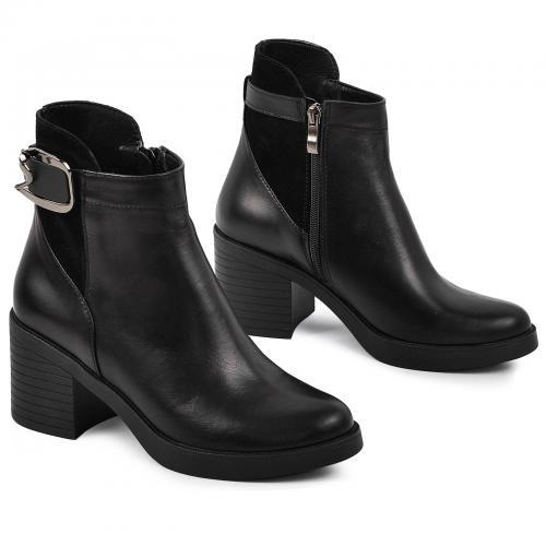Ботинок Моника черная кожа замш
