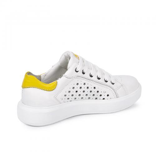 Кеды Рика 3 белая/желтая кожа перфорация
