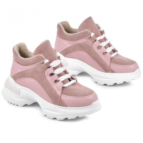 Ботинок Роуз розовый флотар замш