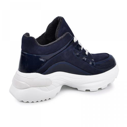 Ботинок Роуз синий лак замш