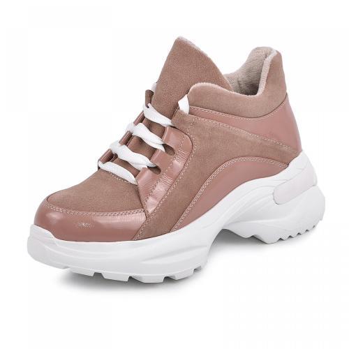 Ботинок Роуз розовый лак замш