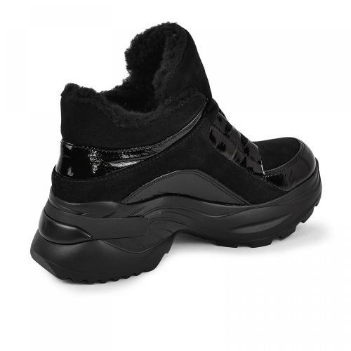 Ботинок Роуз черный лак замш
