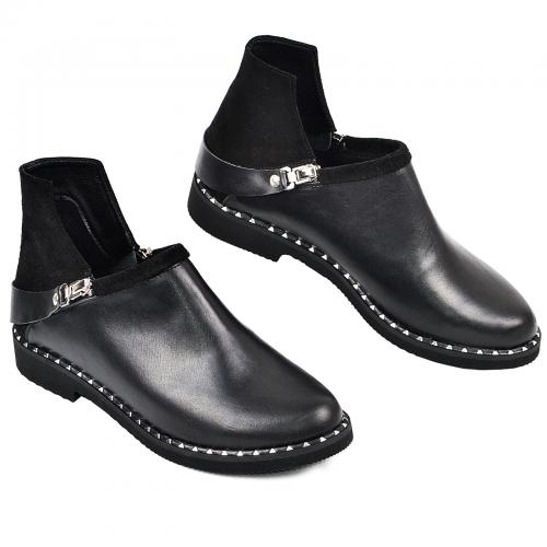 Ботинок 311 черная кожа замш