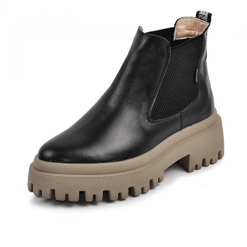 Ботинок Санта черная кожа БЕЖ