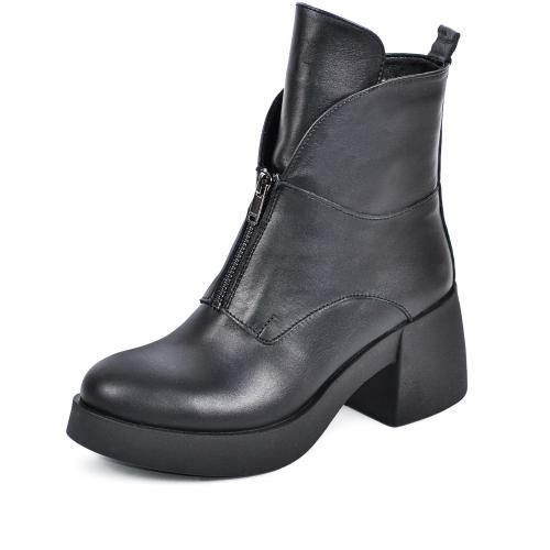 Ботинок Змейка черная кожа