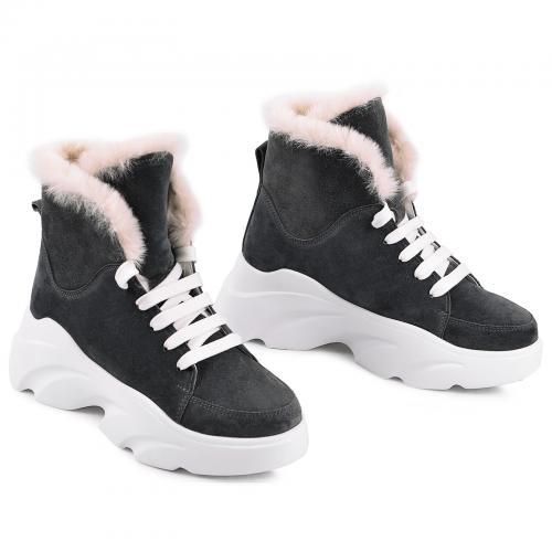 Ботинки Глория серый замш