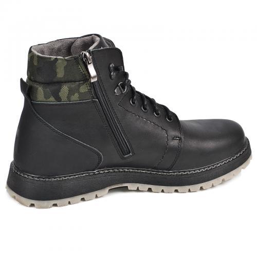 Ботинки Кет 3 черная кожа милитари