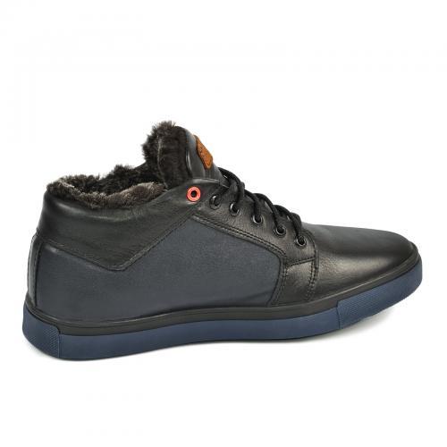 Ботинки Регби черная-синяя кожа